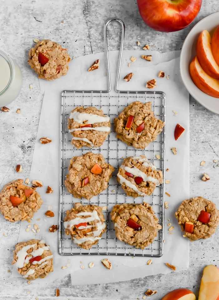 oatmeal cookies, with apples, soft chocolate chip cookie recipe, arranged on a metal rail, granite countertop