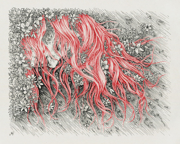 female face, with red hair, covered in flowers, simple flower drawing, pencil sketch