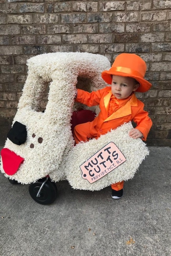 little boy, dressed as lloyd, dumb and dumber inspired, best halloween costumes, getting inside the puppy car