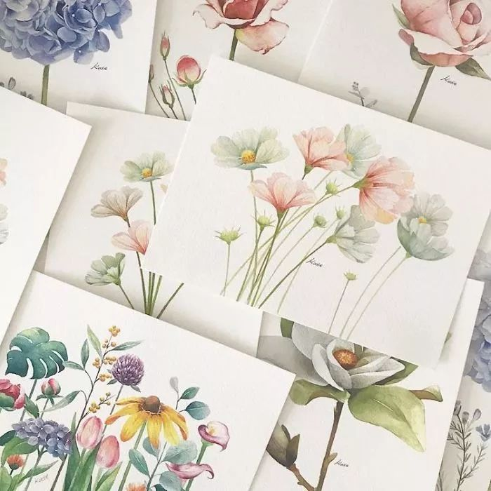 different paintings, floral drawings, easy flowers to draw, watercolor paintings