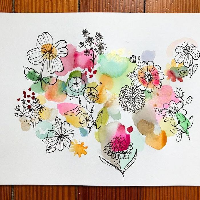 simple flower drawing, wooden table, watercolor painting, different flowers, on a white background