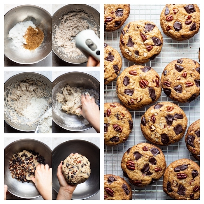photo collage, step by step, diy tutorial, chewy chocolate chip cookies recipes, cookies with raisins and nuts