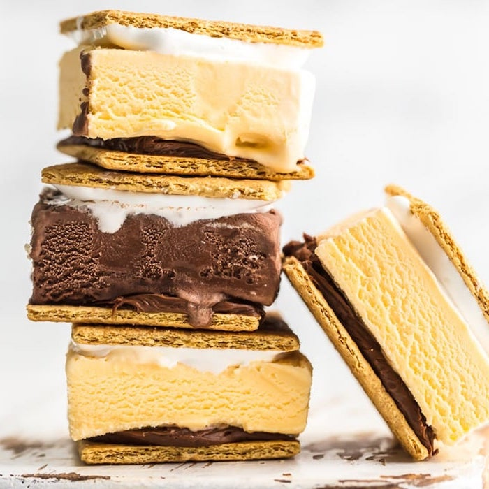 easy summer desserts, ice cream sandwich, between two cookies, white background