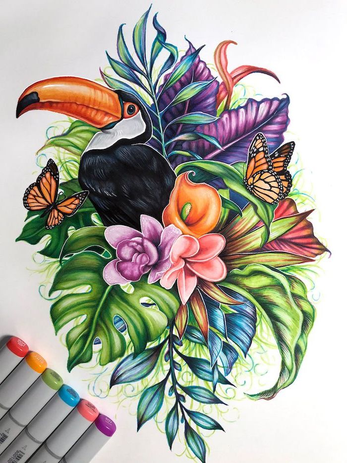 toucan bird, surrounded by flowers, palm leaves, two butterflies, simple flower drawing, white background