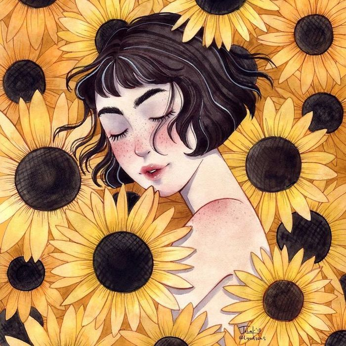 woman with short, brown hair, surrounded by sunflowers, cool designs to draw, colored painting