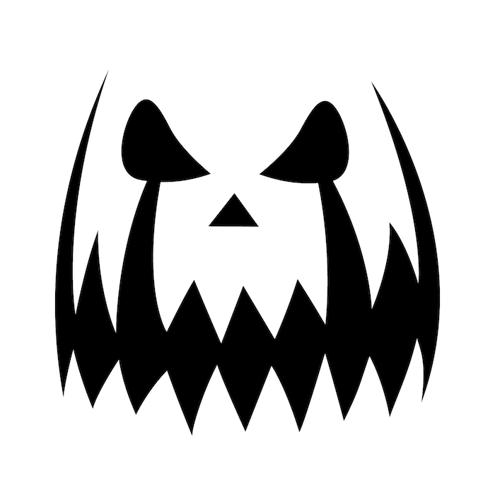 black and white sketch, how to carve a pumpkin, large teeth, stencil template