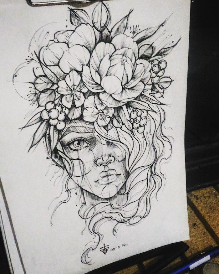 black and white, pencil sketch, cool designs to draw, woman with a large, flower crown
