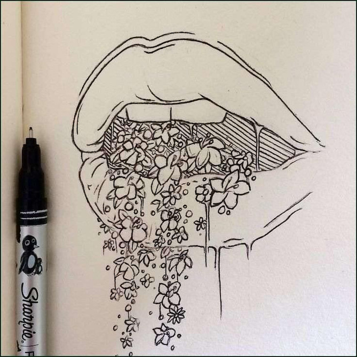 female lips, flowers coming out of them, cool designs to draw, black and white, pencil sketch