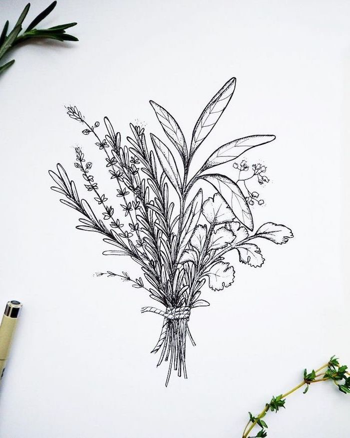 a bunch of flowers, on a white background, cool designs to draw, black and white, pencil sketch