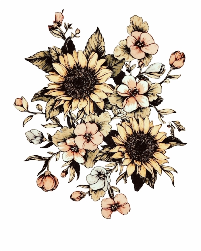sunflowers and other flowers, on white background, simple rose drawing, colored painting