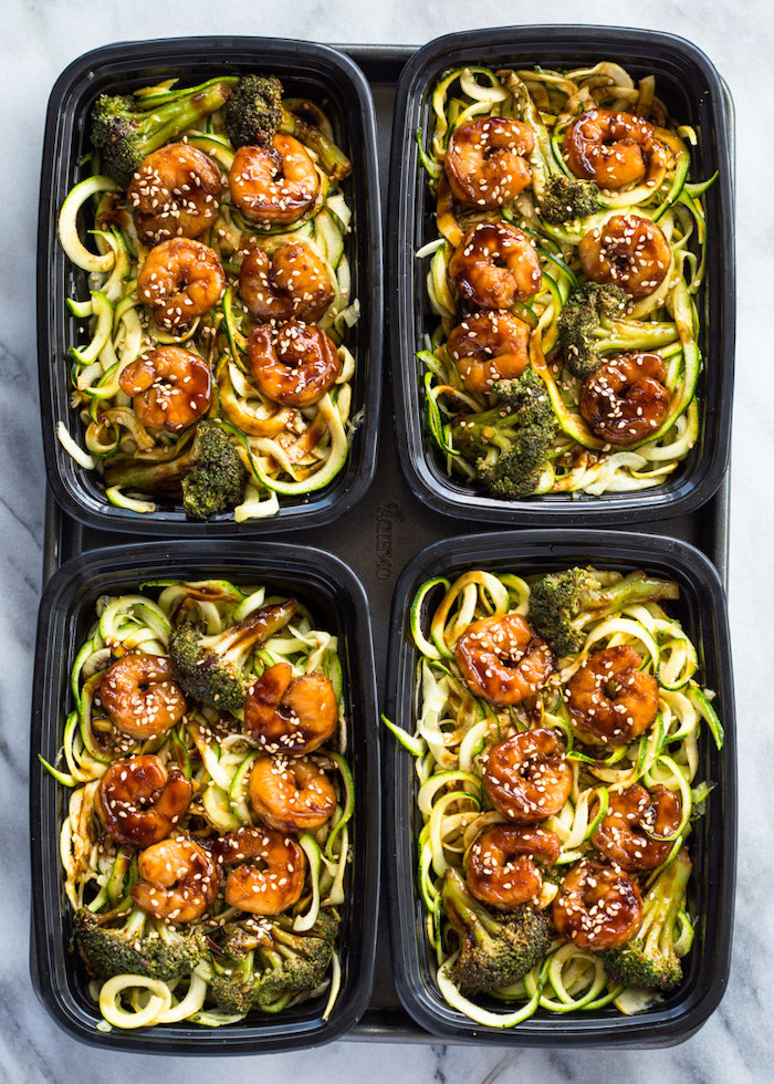 four black containers, zoodles with shrimp, how to cook spiralized zucchini noodles, roasted broccoli