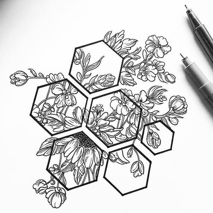 honeycomb shapes, simple rose drawing, a bunch of flowers, black pencil sketch, white background