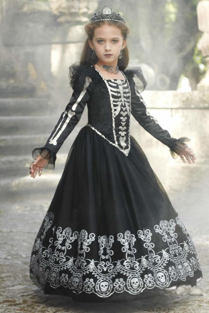girl dressed as a skeleton, skeleton gown, made of tulle and satin, toddler girl costume, black crown