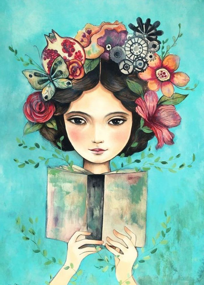 girl with black hair, large flower crown, holding an open book, simple rose drawing, turquoise background