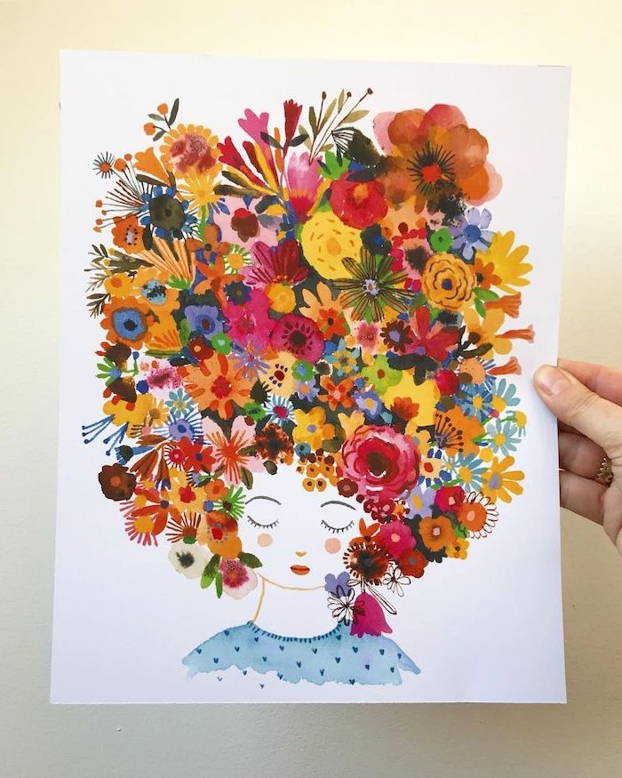 girl with closed eyes, large flower crown, simple rose drawing, white background, watercolor painting