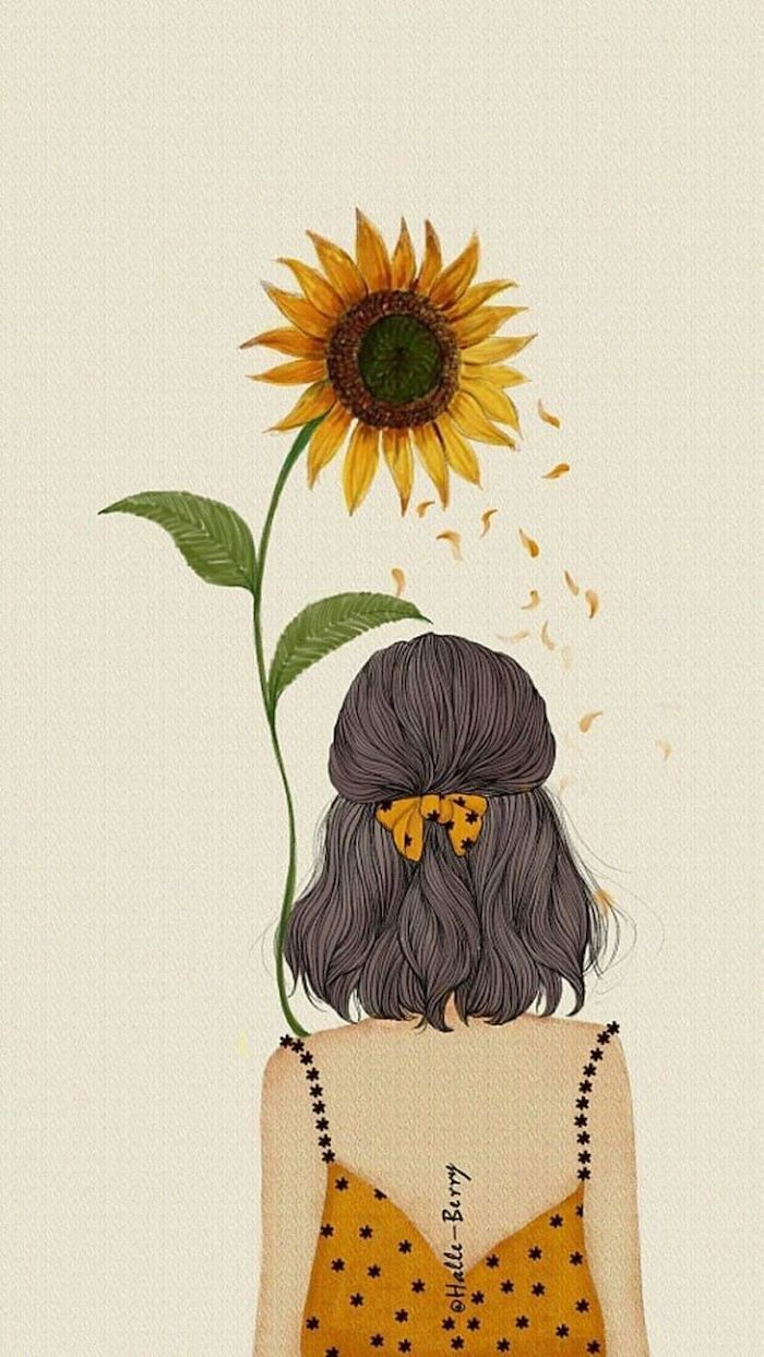 girl with short, brown hair, yellow dress, holding a sunflower, simple rose drawing, white background