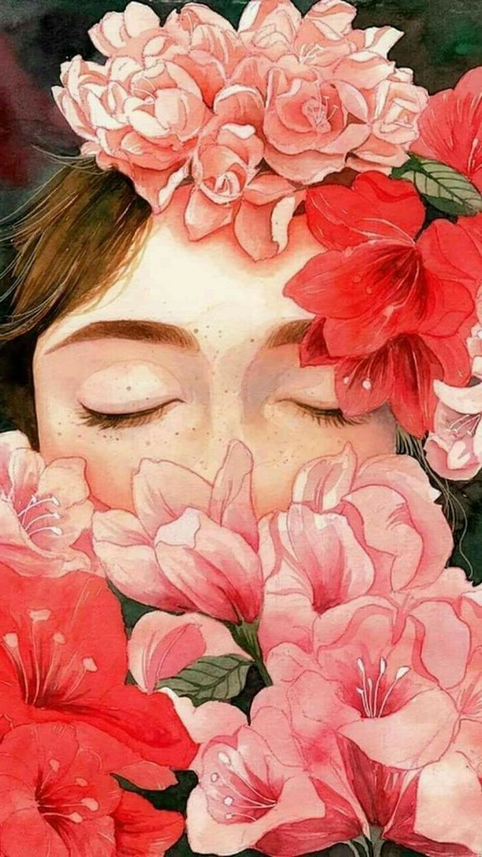 how to draw a rose easy, girl with closed eyes, surrounded by flowers, in pink and red, colored painting