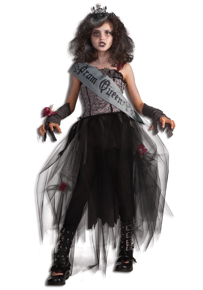 toddler boy halloween costumes, girl dressed as goth, prom queen, black tulle skirt, black boots, white background