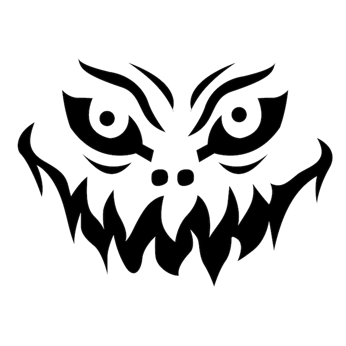 jack o lantern ideas, scary face, black and white sketch, stencil template