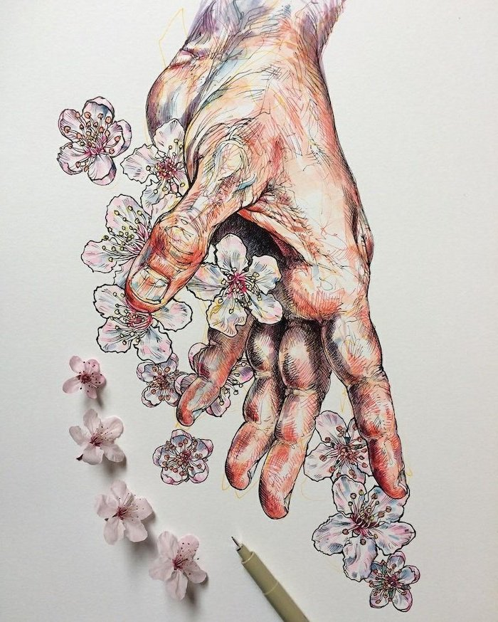 open hand, throwing flowers, how to draw a rose easy, white background, colored painting