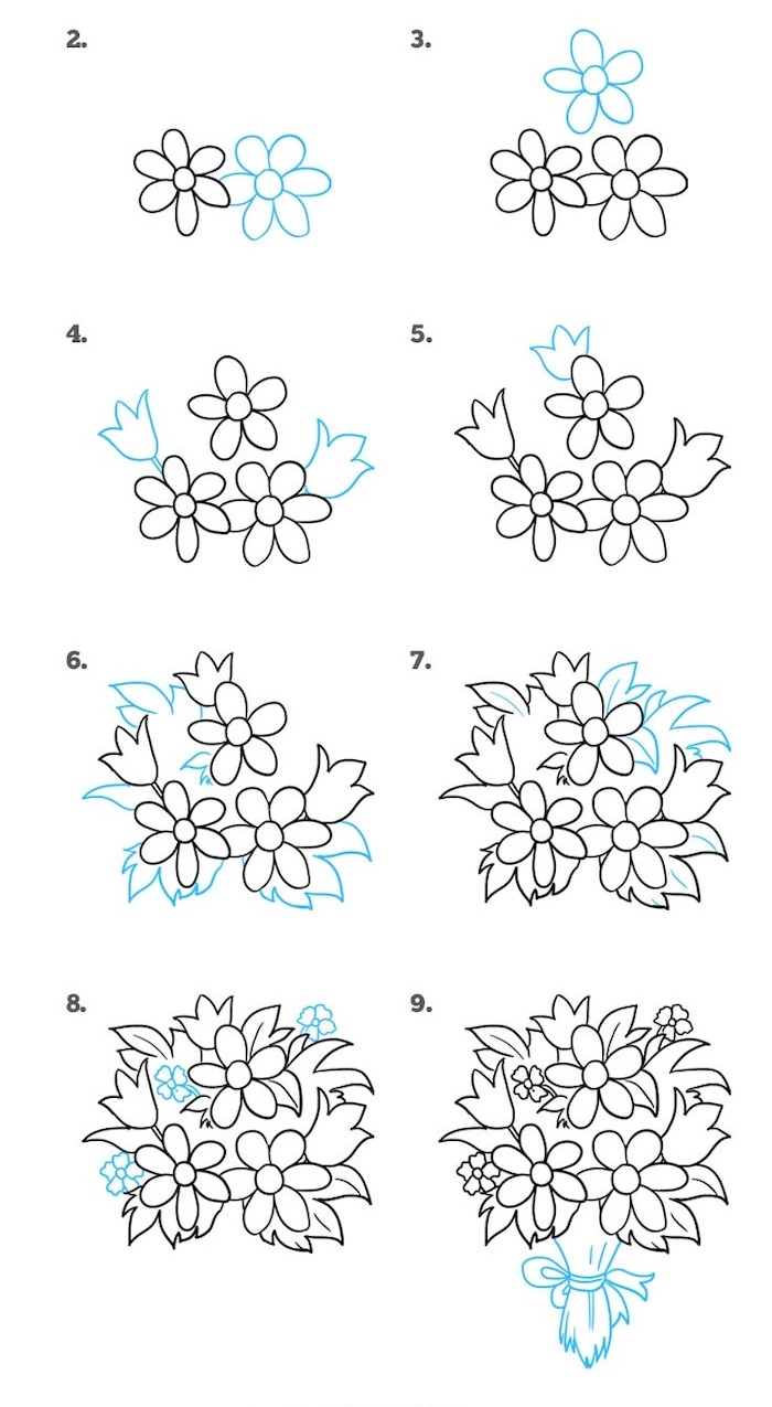 how to draw a flower bouquet, simple drawing ideas, white background, step by step, diy tutorial
