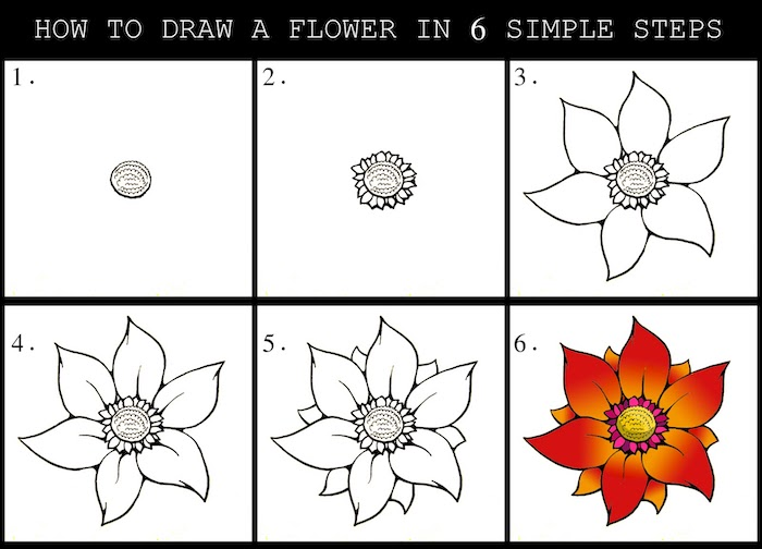 how to draw a flower in six simple steps, simple drawing ideas, step by step, diy tutorial