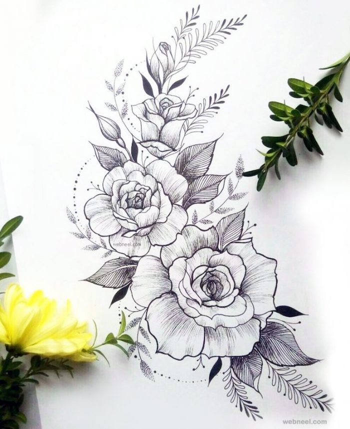 a bunch of roses, black pencil sketch, white background, rose drawing step by step, real yellow flower, on the side