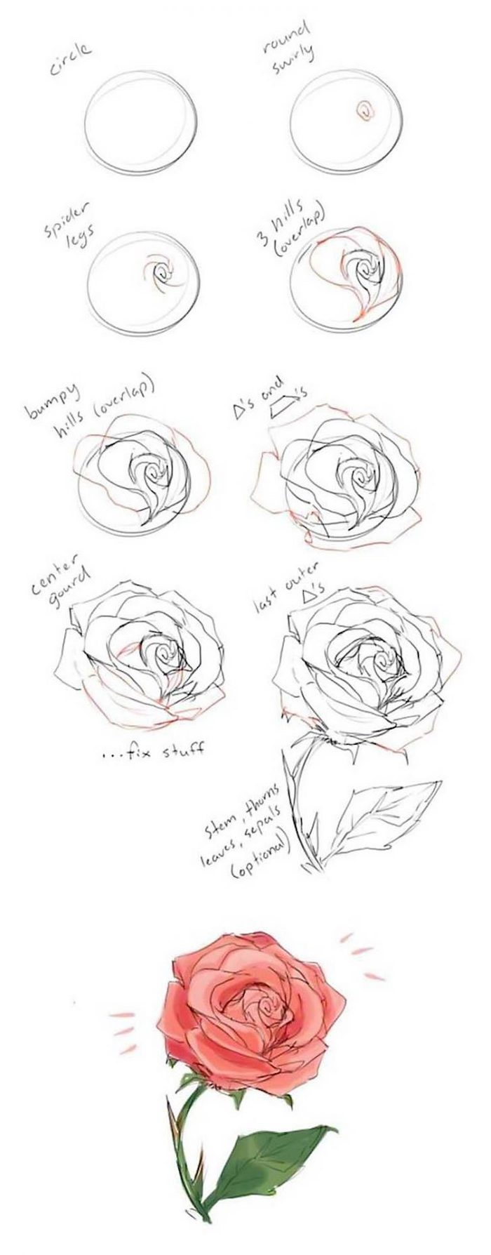 step by step, diy tutorial, how to draw a rose, drawing pictures of flowers, black pencil sketch, white background