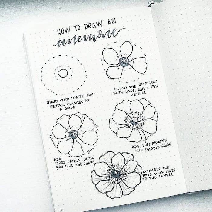 step by step, diy tutorial, how to draw a flower easy, white background, bullet journal