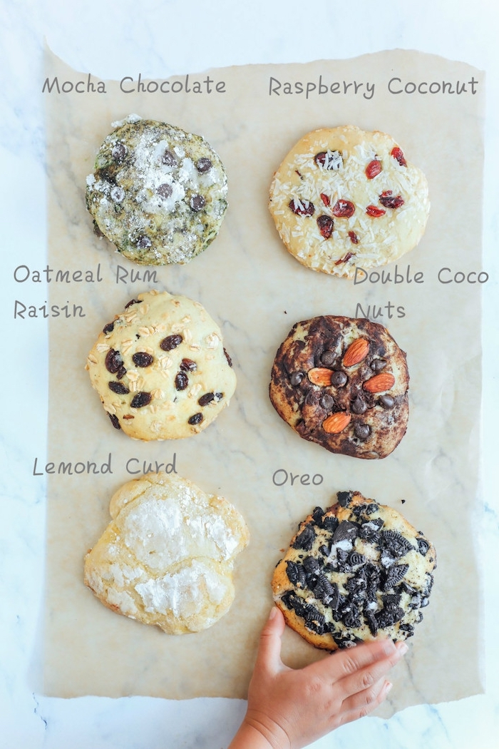 different types of cookies, best chocolate chip cookie recipe, mocha chocolate, raspberry coconut, lemon curd