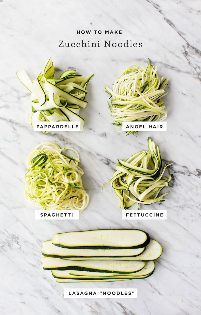 how to make zucchini noodles, pappardelle and angel hair, spaghetti and fettuccine, lasagna noodles, how to spiralize zucchini