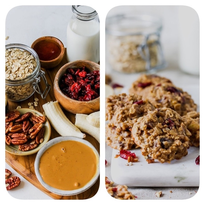 side by side photos, how to make homemade cookies, ingredients for cookies, in wooden bowls, oatmeal in a jar
