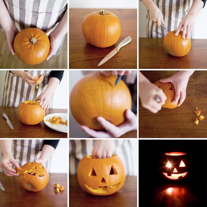 step by step, diy tutorial, how to carve a pumpkin, cute pumpkin carvings, photo collage