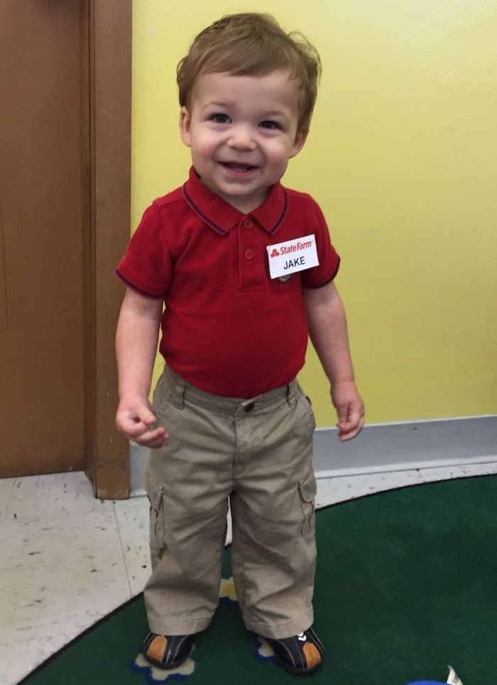 little boy, dressed as jake, from state farm, superhero costumes for kids, red shirt, khaki pants