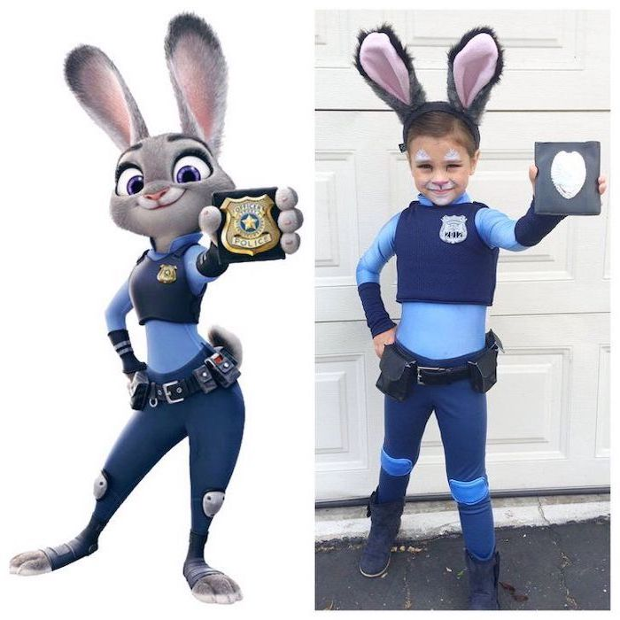side by side photos, girl dressed as judy hopps, zootopia movie inspired, superhero costumes for kids, holding a badge