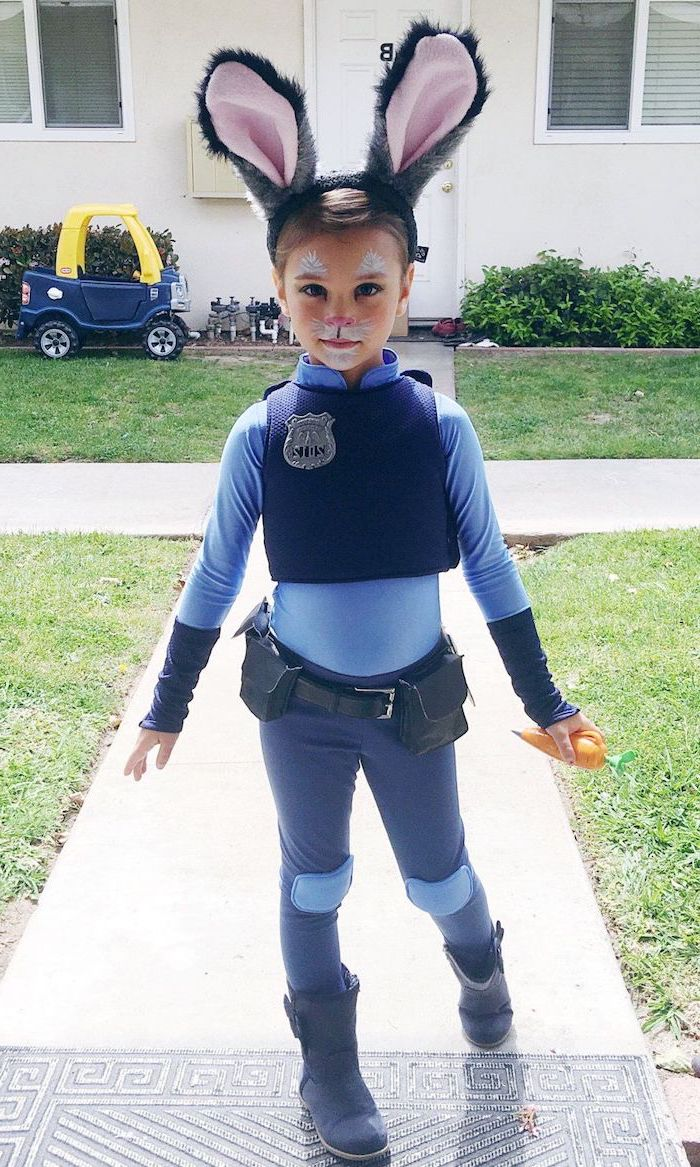 girl dressed as judy hopps, zootopia movie inspired, toddler boy halloween costumes, bunny ears, police uniform