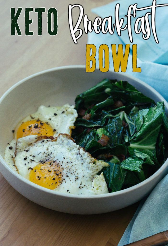 keto breakfast bowl, fried eggs, spinach with bacon, on the side, in a white bowl, wooden table, easy keto meals