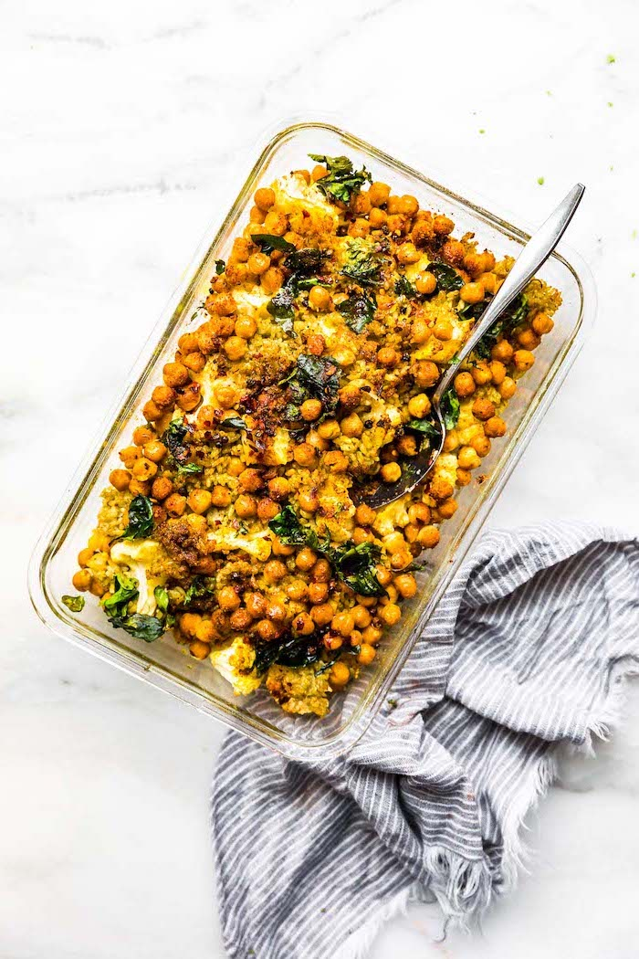 chickpeas casserole, healthy lunch ideas for work, spinach and cauliflower, silver spoon, glass tray