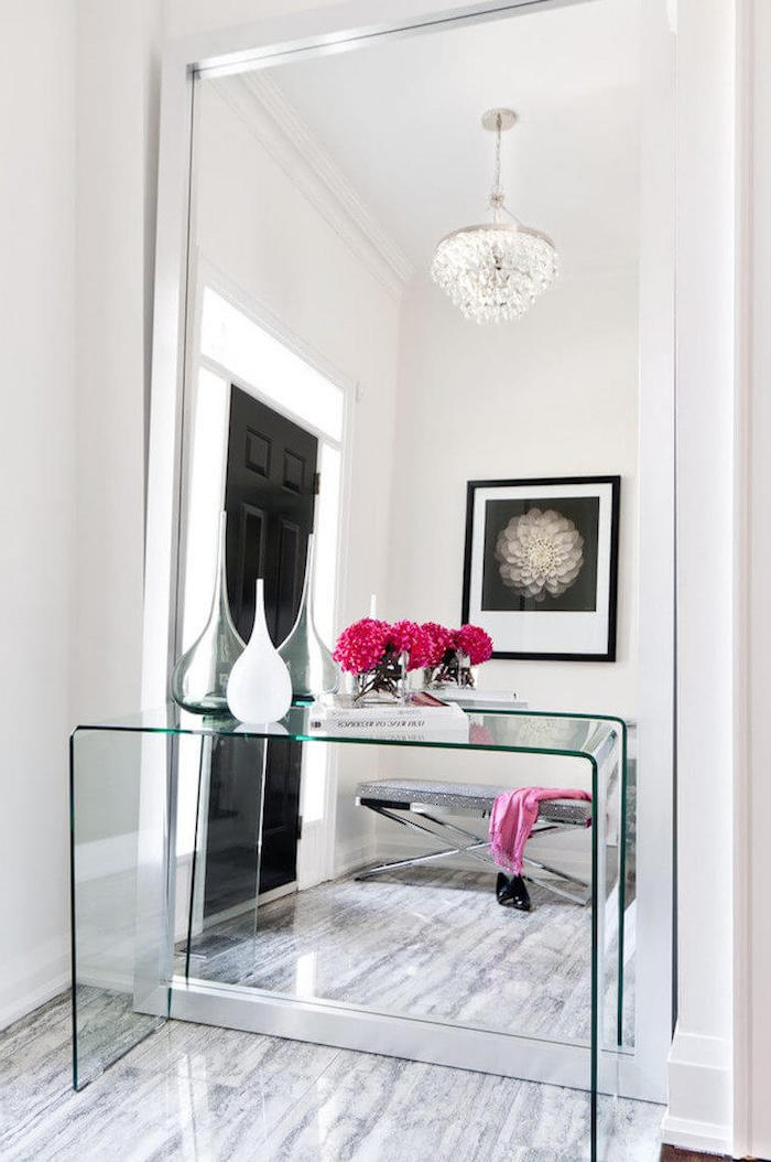 large mirror, update your entrance hall, glass furniture, marble floor, white walls, black door