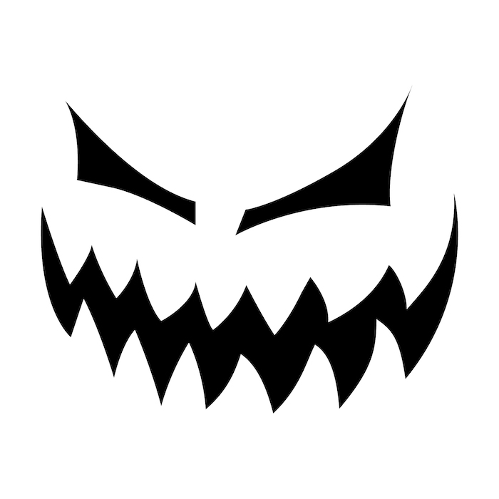 large teeth, scary eyes, jack o lantern ideas, black and white sketch, stencil template