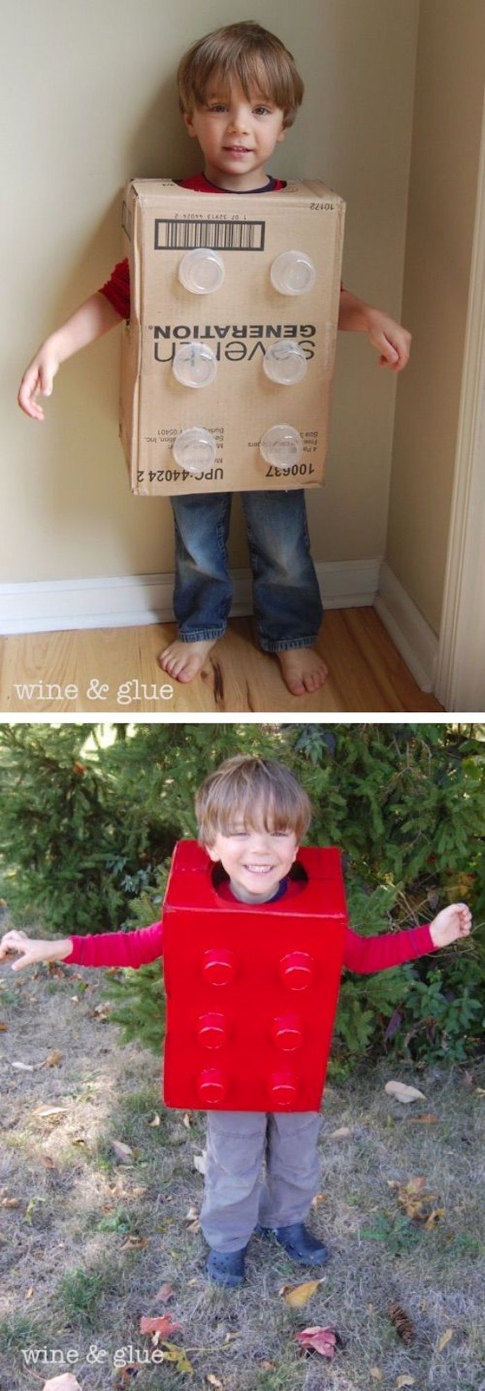 diy costume, superhero costumes for kids, little boy, dressed as a lego brick, painted in red, made of carton