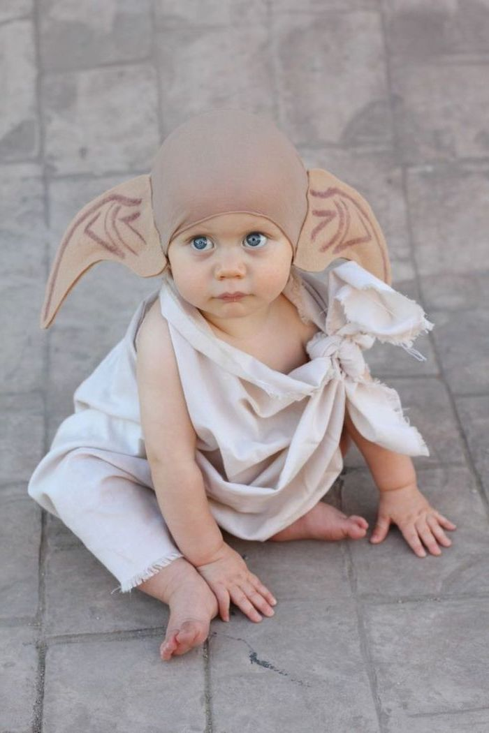 baby boy, dressed as dobby the house elf, harry potter inspired, funny kids costumes, tiled floor