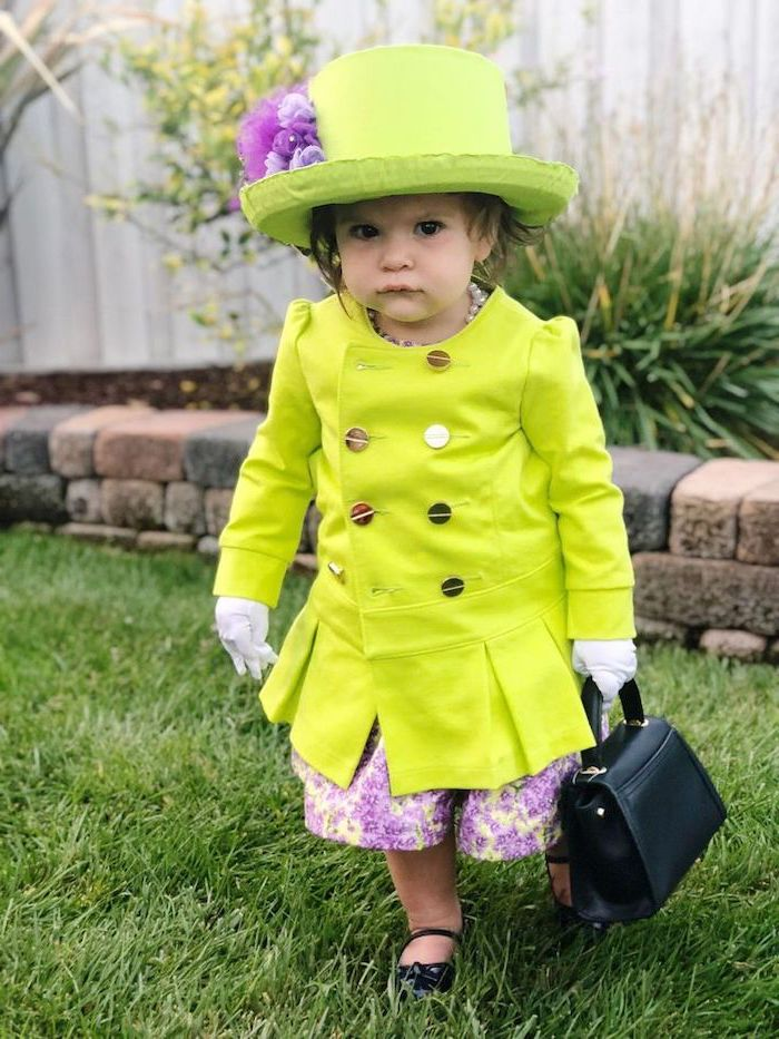 little girl, dressed as queen elizabeth, funny kids costumes, neon green suit and hat, black bag, purple skirt