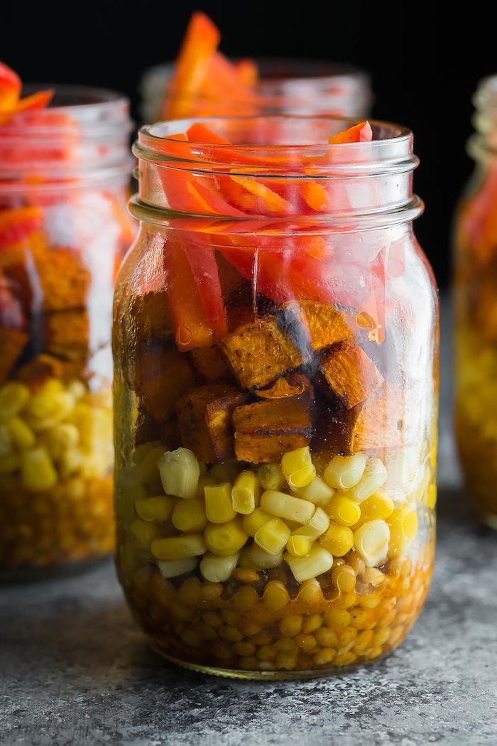 lentils and corn, sweet potato and peppers, inside a mason jar, how to meal prep, granite countertop