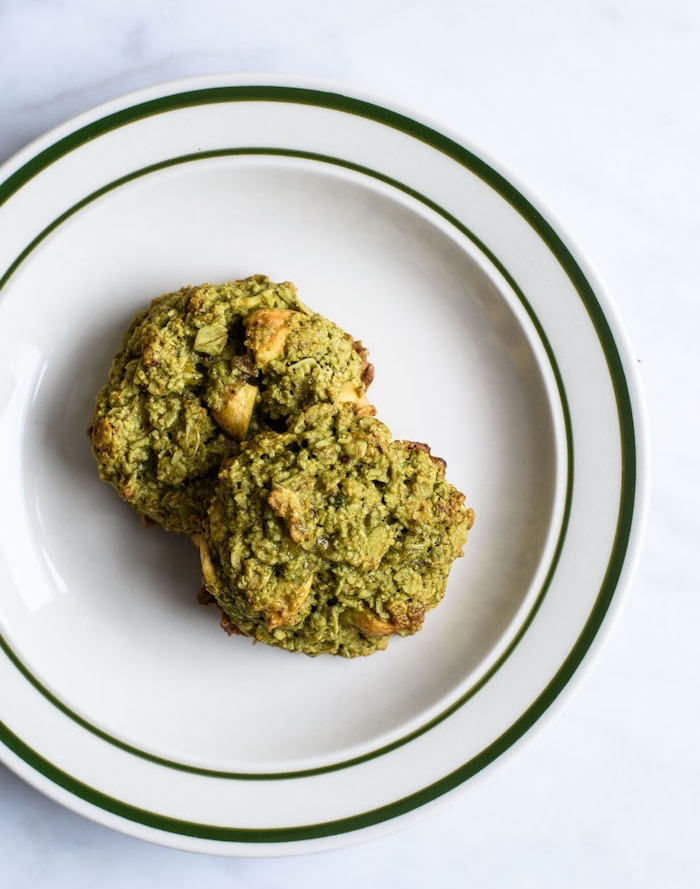 matcha cookies, with nuts, in white plate, white table, how to make homemade cookies