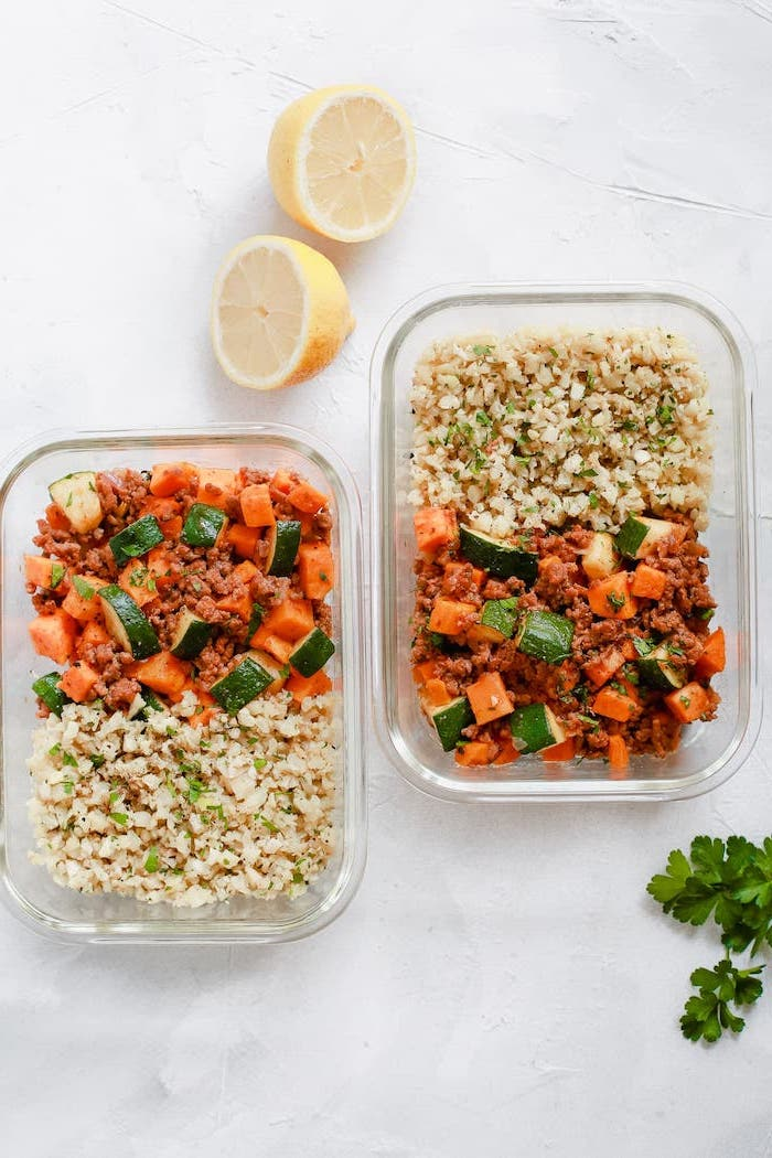 ground beef, with zucchini, sweet potatoes, easy lunches for work, in glass containers, lemon slices
