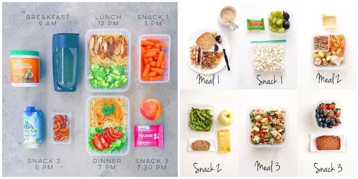 healthy meal prep ideas for the week, recipe for each meal of the day, photo collage