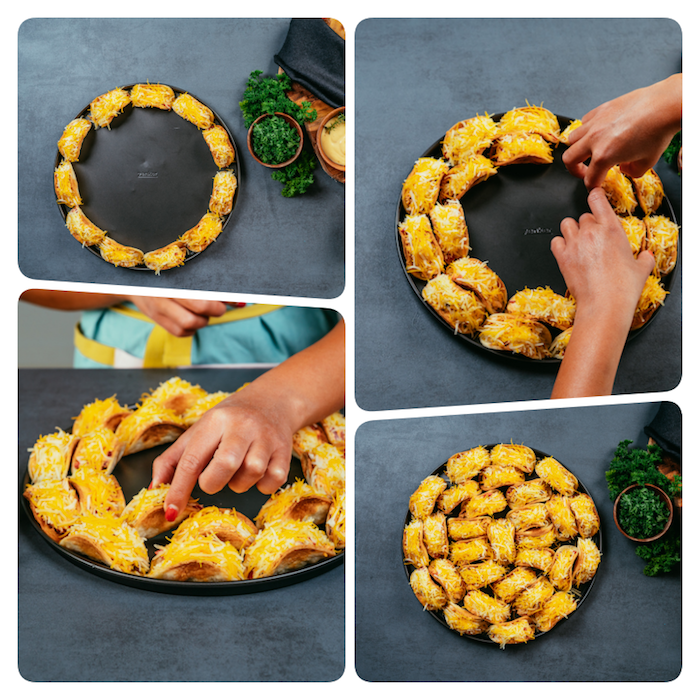 photo collage, how to cook ground beef, tacos arranged, on a black round tray, covered in cheese, black table