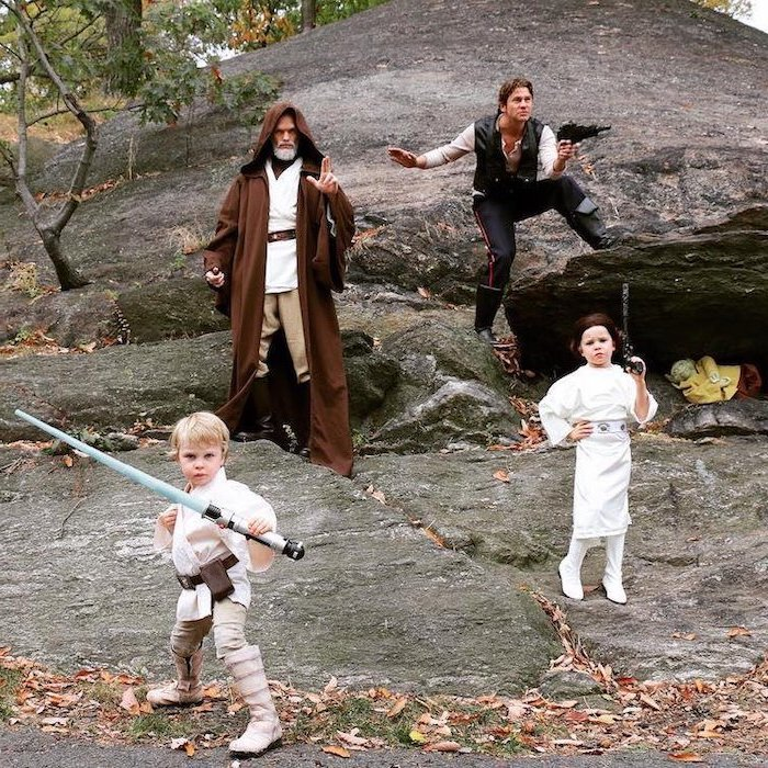neil patrick harris and family, dressed as star wars characters, funny kids costumes, princess leia, anakin skywalker, han solo