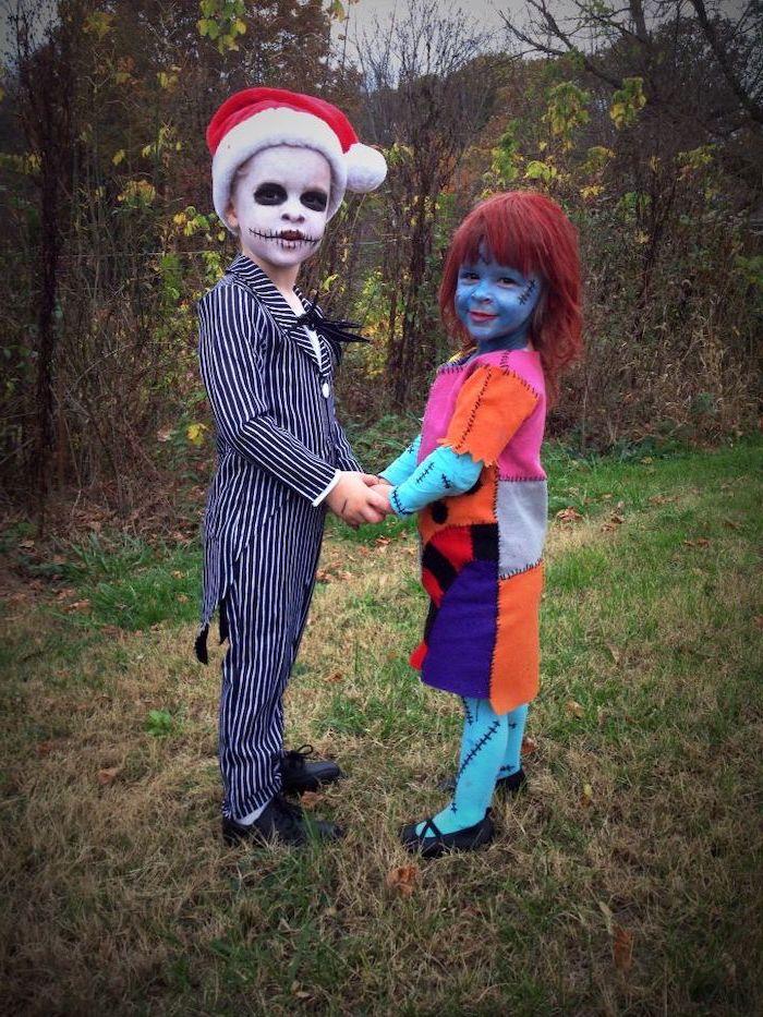 boy and girl, dressed as sally, jack skellington, toddler girl halloween costume, nightmare before christmas inspire
